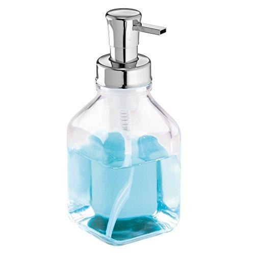 InterDesign Cora Glass Foaming Soap Pump Dispenser Holds 18.7 oz. for Kitchen, Bathroom, Sink, Vanity, 3.25