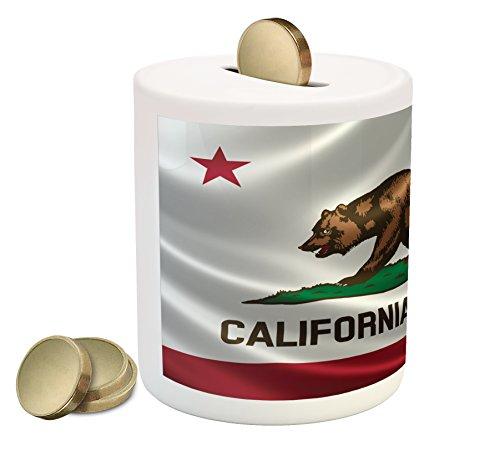 Cheap  American Piggy Bank by Lunarable, California Historical Bear Flag Lone Star of..