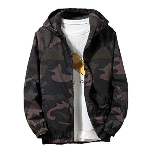 Oversized Juniors Mogogo Multicamo Men's Coat Autumn Hoode Green Jacket Zip wPPYTqX