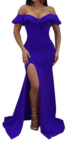 Elegant Maxi Sexy Blue Off Womens Bodycon Cromoncent Ruffle Shoulder Dress Slit 58wAq1