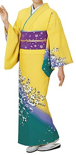 踊り衣裳 反物 都印 一越本絵羽 黄色×青緑 レディース 洗える着物
