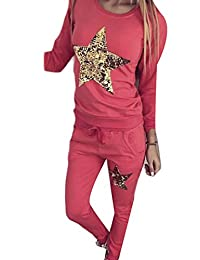 UUYUK Women's Sequin Print Sweatshirt And Sweatpant Set Tracksuit