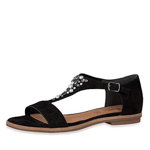 20 Schwarz 001 Damen 28114 Modische Label Sandale Veloursleder Black Gummizug Ffx4wvE