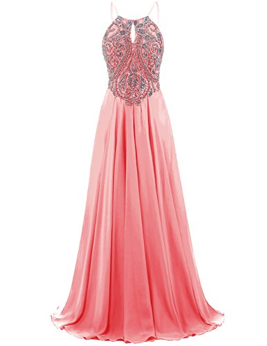 DRESSTELLS-Long-Prom-Dress-Halter-Chiffon-Dress-Beaded-Evening-Party-Gown-Coral-Size-22W