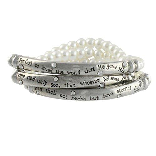 Silvertone Simulated Pearl John 3:16 Wrap Stretch Bracelet