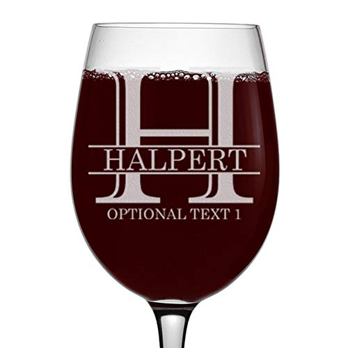 Personalized Etched Monogram 16oz Stemmed Wine Glass