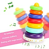 Kingseye Rainbow Stacking Tower with Music Tumbler, Sounds and 7 Colorful Plastic Ring Educational Toy Baby Toddler Sensory Stacking Toys ( 6 to 12 Months )
