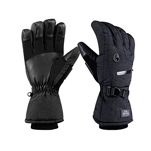 (HighLoong Men Ski Snowboard Gloves with Waterproof and Thinsulate for Cold Winter-Black (L,)