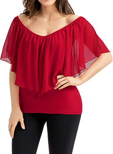 Shawhuwa Womens Sexy Sheer V Neck Flutter Ruffle Cold Shoulder Top Blouse M Wine Red