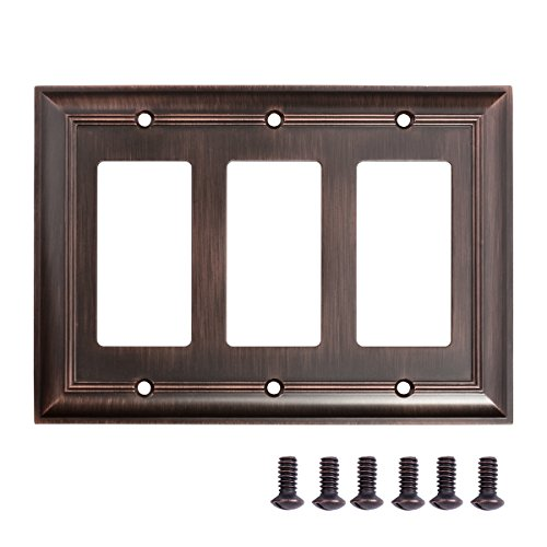 AmazonBasics Triple Gang Wall Plate, Oil Rubbed Bronze, 1-Pack - Bronze Cover Plate