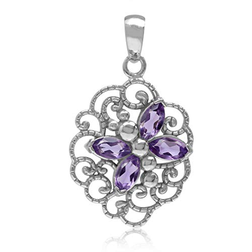 Natural Amethyst 925 Sterling Silver Dragonfly Filigree Pendant
