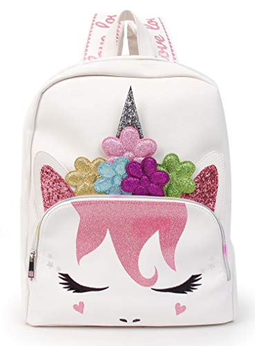 (Large Unicorn Backpack Purse Daypack Bag for Women (Large Backpack - White Flower Crown Unicorn))