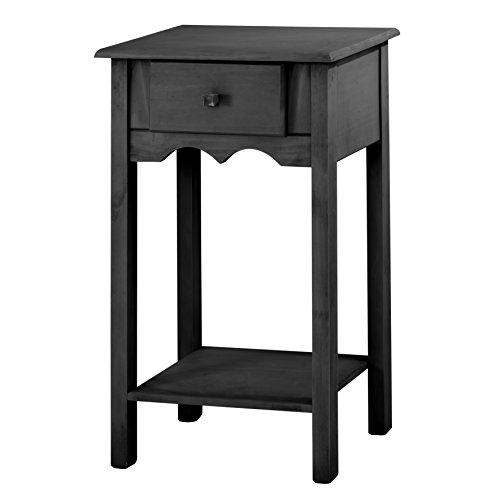 Manhattan Comfort Jay Collection Modern Wooden Accent End Table With One Drawer and One Shelf, Black
