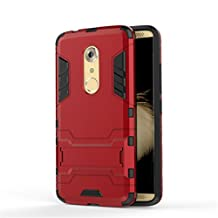 Kickstand Cover for ZTE Axon 7, Arroker TPU and PC Lightweight Bumper Protective Full Body Case for ZTE Axon 7 (Red)