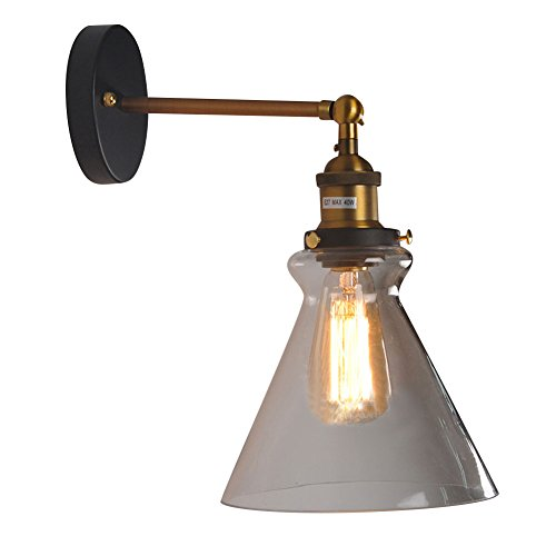 iecool Retro Style Copper Wall Light Cone Glass Lampshade (Cone Glass Shade Wall Lamp)
