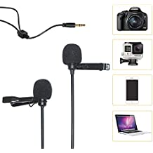 Comica CVM-D02 Dual-head Lavalier Microphone Clip-on mini Omnidirectional Condenser mic interview microphone for Apple Iphone,Ipad,Ipod,Android,DSLR,Sony Canon camera,GoPro 3,4,5(Black)(117inch)