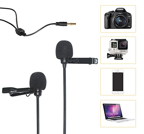 Comica CVM-D02 Dual-head Lavalier Microphone Clip-on mini Omnidirectional Condenser mic interview microphone for Apple Iphone,Ipad,Ipod,Android,DSLR,Sony Canon camera,GoPro 3,4,5(Black)(236inch)
