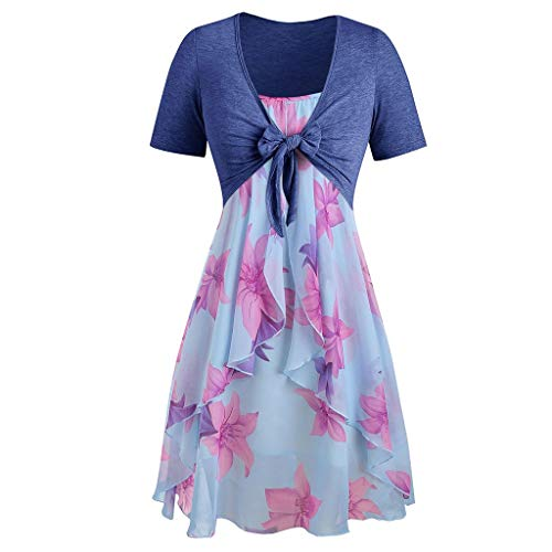 Hivot Women Chiffon Mini Dress Short Sleeve Bow Knot Bandage Top Flower Print 2 Pieces Suits Cocktail Party Beach Dress Blue