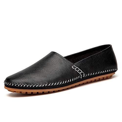 mocassini shoes per anche pedale casual formali o uomo eventi pelle drive casual Jiuyue 6 White traspirante feste luce morbida barca Nero un mocassini da qndCRw67