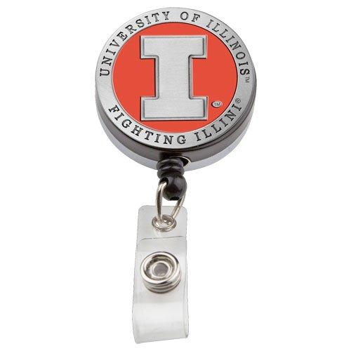 1pc, Pewter University of Illinois Badge Reel