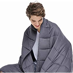 ZonLi Adults Weighted Blanket 20 lbs | 60''x80'' | Cooling Weighted Blanket for Adults 180-220 lbs | Grey | Premium Cotton with Glass Beads