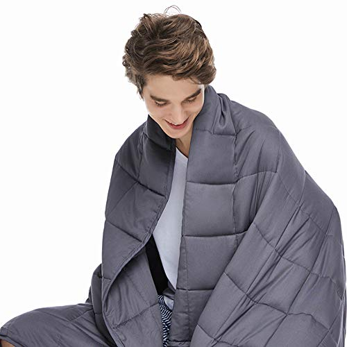 ZonLi Adults Weighted Blanket 20 lbs (60''x80'', Grey, Queen Size), Cooling Weighted Blanket for Adults 180-220 lbs, Premium Cotton with Glass Beads