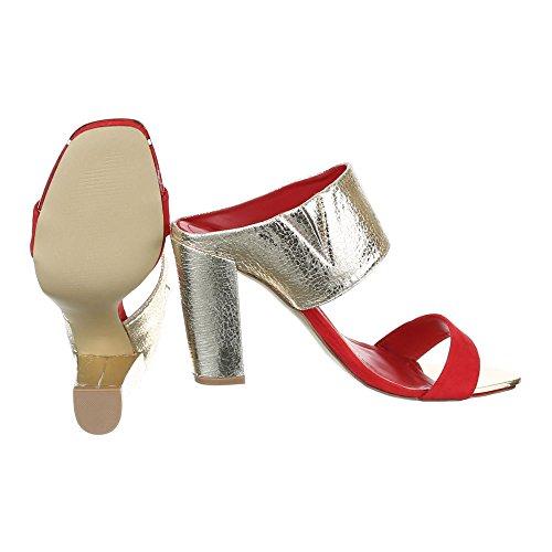 Ital-Design - Sandalias de vestir de Material Sintético para mujer rojo dorado