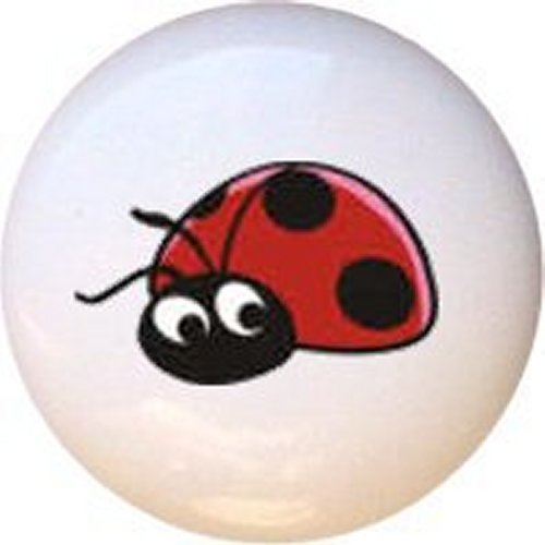 Ladybug Bug Decorative Glossy Ceramic Drawer Pull Knob