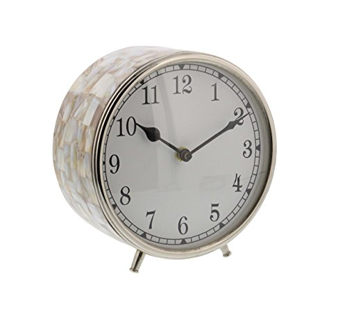 Deco 79 43502 Stainless Steel Round Table Clock with Shell Inlay 7