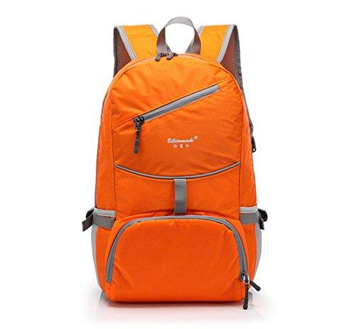 Montañismo Mochila Senderismo camping paquete impermeable mochila suspendido andamio exterior al aire libre bolsa de deporte 85L, hombre mujer, verde naranja