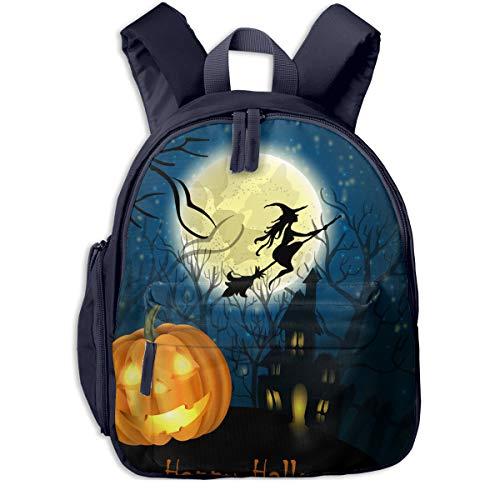 Halloween Witch On The Full Moon Double Zipper Waterproof Children Schoolbag With Front Pockets For Kids Boy Girls