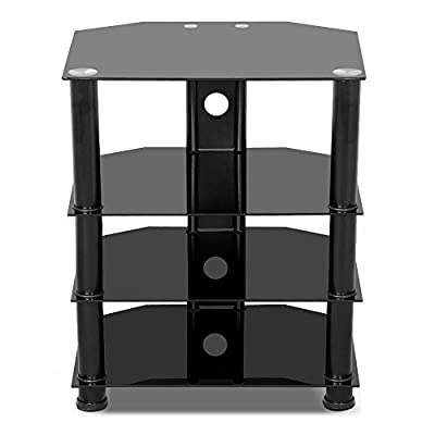 Yaheetech 4 Tier Black Glass Component Media Stand Audio Video Rack Cable Management, Storage Xbox, Playstation, Speakers, Cable Boxes, Desktop Glass 110Lb Capacity