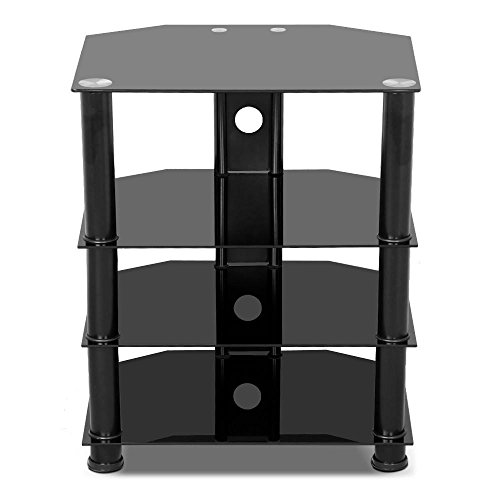 Yaheetech 4 Tier Black Glass Media Component Stand Audio Rack with Cable Management