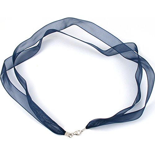 Organza Ribbon Necklace Blue w Sterling Clasp 17 Inch]()
