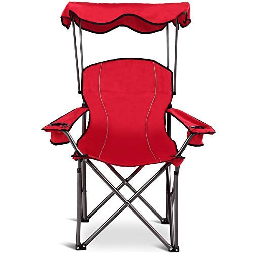 Goplus Folding Beach Chair Heavy Duty High Capacity Camping Chair Durable Outdoor Patio Seat with Cup Holder and Carry Bag (Red with Canopy) ()