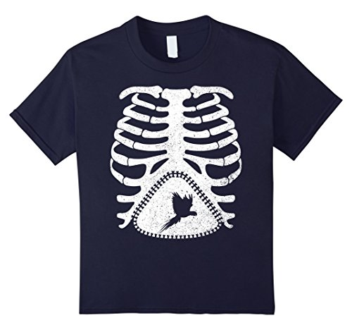 Child Blue Macaw Costume (Kids Skeleton Maternity BLUE-AND-YELLOW MACAW Bird T-Shirt 12 Navy)