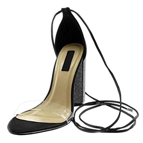 Ancho Cm Angkorly Mujer Alto Moda Tacón Strass Elegante Transparente Altas Zapatillas Escarpín Abierto Negro 11 Sandalias qPqn6Wwfg