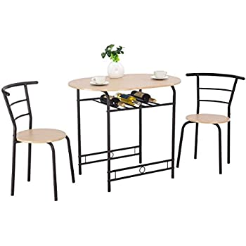 Amazon Com Giantex 3 Pcs Bistro Dining Set Table And 2 Chairs