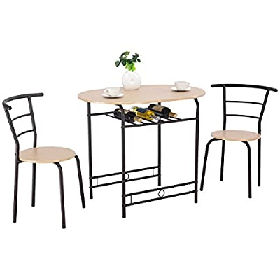 Giantex 3 PCS Dining Table Set w/ 1 Table and 2 Chairs Home Restaurant Breakfast Bistro Pub Kitchen Dining Room Furniture (Natural) - Giantex 3-piece Compact Dining Set: Sold in a complete set, includes 1 table and 2 chairs, which adds a fashion style to your kitchen or dining room with our brand new stylish. Sturdy And Durable: With premium MDF and premium steel construction, this set is sturdy and durable, lasting for years to come. Stylish Design: A wine rack under the desk for storing wine, Smart and compact design for space saving. - kitchen-dining-room-furniture, kitchen-dining-room, dining-sets - 41aiH wZf%2BL. SS400  -