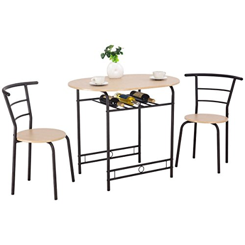 Giantex 3 PCS Dining Table Set w/ 1 Table and 2 Chairs Home Restaurant Breakfast Bistro Pub Kitchen Dining Room Furniture (Natural) (For Dining Table 2 Cheap)