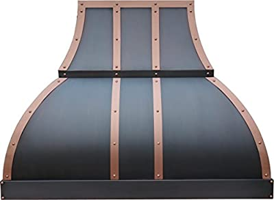 Copper Best H1 362136S Copper Range Hood with 660CFM Powerful Inserts Fan 36 inches Wall Mount