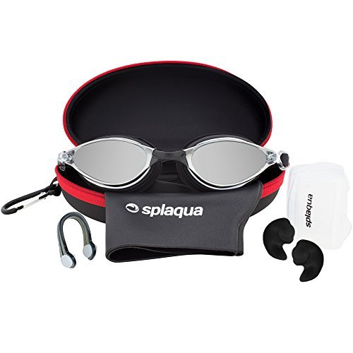 5 Piece Swimming Gear Set: Mirrored Goggles, Swim Cap, Ear Plugs, Nose Clip & Waterproof EVA Case - by - Nose Goggles