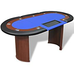 vidaXL 10-Player Poker Casino Card Game Table w/Dealer Area and Chip Tray Blue