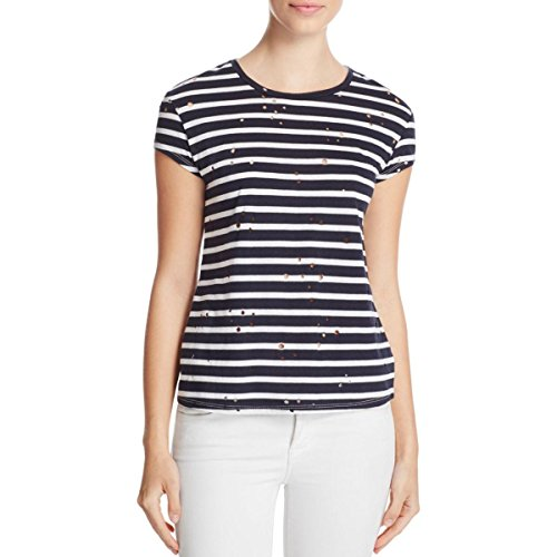 - Generation Love Womens Scarlett Striped Short Sleeves Casual Top Navy L