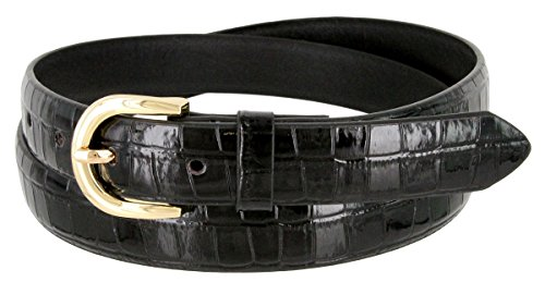 Embossed Leather Belt Buckle - Women's Skinny Alligator Embossed Leather Casual Dress Belt with Buckle 7035 (Black, Medium)