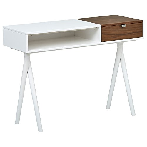 Rivet Modern Cross Legged White Laquer with Wood Accent Home Office Computer Desk, 42