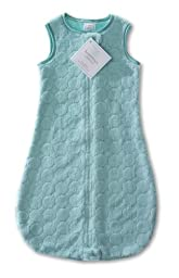 SwaddleDesigns Sleeping Sack with 2-Way Zipper, Cozy Turquoise Puff Circles, 6-12MO