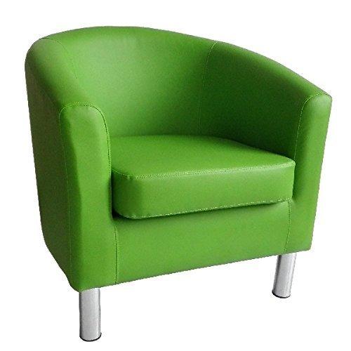 Sedia per vasca da bagno, design moderno, in finta pelle con gambe cromate casa, ufficio, salotto, sala da pranzo da Reception, colore: verde The Home Garden Store