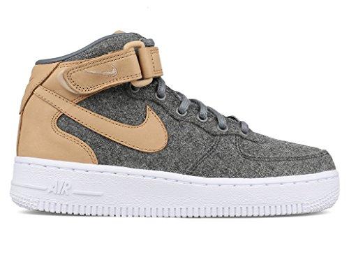 Nike Women's Air Force 1 Mid Lthr Prm Oatmeal/Oatmeal/Oatmeal/Black Basketball Shoe 6 Women US