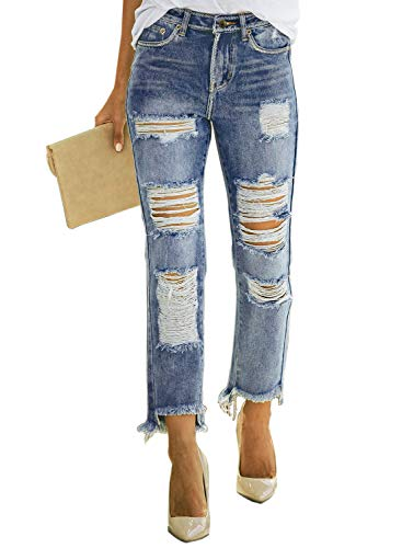 Dokotoo Womens Fashion Summer Classic Distressed Ripped Hole Destroyed Boyfriend Raw Hem Wash Denim Skinny Jeans Long Pants Large Sky ()
